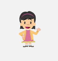 Asian girl waving happy vector