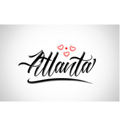 Atlanta city design typography with red heart vector