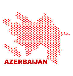 azerbaijan map - mosaic of lovely hearts vector image