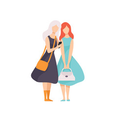 Beautiful woman showing something to her friend on vector