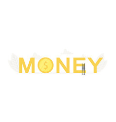 big word money and coin cash banner for vector image