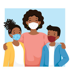 Black family wearing face masks vector