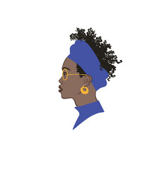black girl profile portrait vector image