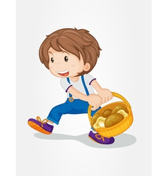 Boy with mushrooms vector image