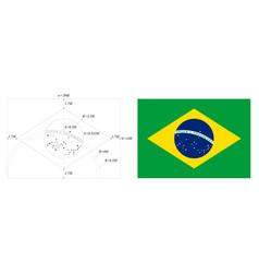 brazil flag drawn as per construction sheet vector image