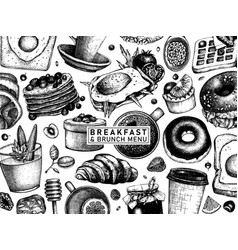 Breakfast table top view banner morning food vector