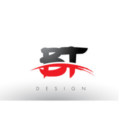 Bt b t brush logo letters with red and black vector