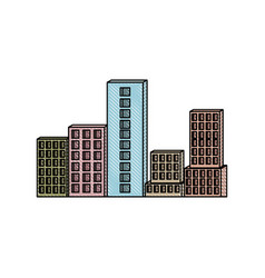 building set city in colored crayon silhouette vector image