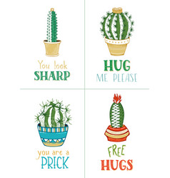 Cactuses and succulents card templates vector