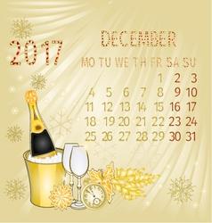 Calendar December 2017 and New Year vector