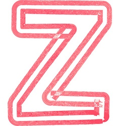 Capital letter Z drawing with Red Marker vector image