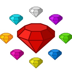 Cartoon diamonds icons set vector