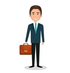 Cartoon man executive business briefcase isolated vector