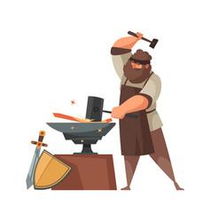 cartoon medieval people icon vector image