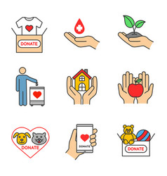 Charity color icons set vector