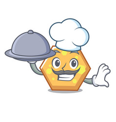 chef with food hexagon mascot cartoon style vector image