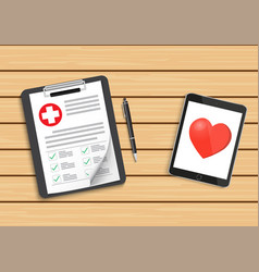 clipboard with medical cross and tablet clinical vector image