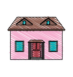 Color crayon stripe cartoon facade house with vector