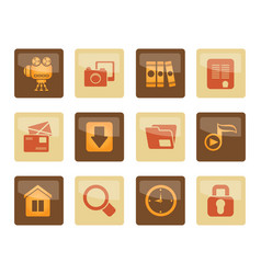 computer and website icons over brown background vector image