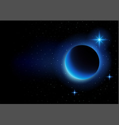 crescent moon and stars on space vector image