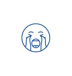 crying emoji line icon concept crying emoji flat vector image