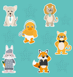 Cute and funny animals background pattern vector