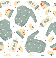 Cute green baby clothes background vector