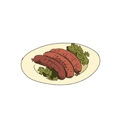 doodle grilled sausages vector image