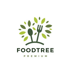 eco food tree fork spoon leaf logo icon vector image