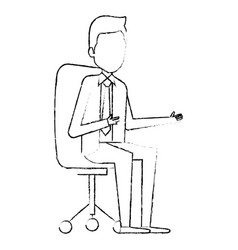 Elegant businessman sitting on office chair avatar vector