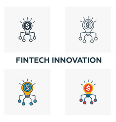 Fintech innovation icon set four elements in vector