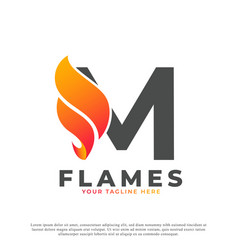Flame with letter m logo design fire logo template vector