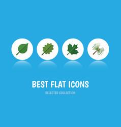 flat icon ecology set of linden alder oaken and vector image