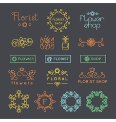 Floral gardening and flower shop logos labels vector image
