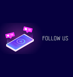 follow us - horizontal banner concept vector image