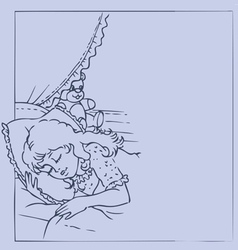 Frame with sleeping girl vector image