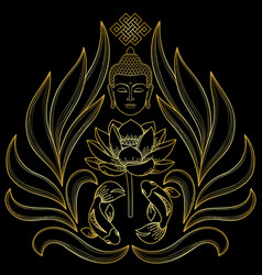 Gold buddha pattern vector
