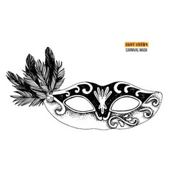 hand drawn venetian carnival mask with feathers vector image