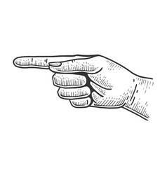 Hand pointer with index finger sketch engraving vector