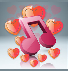 Hearts valentines day notr music icon vector