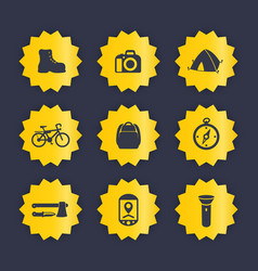 Hiking camping icons set vector