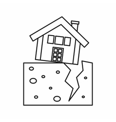 House after an earthquake icon outline style vector image