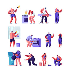 Household activities husband for an hour set vector