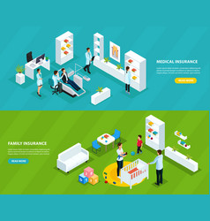 isometric insurance service horizontal banners vector image