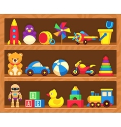 Kids toys on wood shop shelves vector