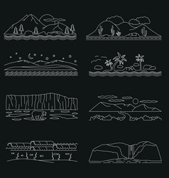 Landscapes sketch hand drawn outline doodle vector