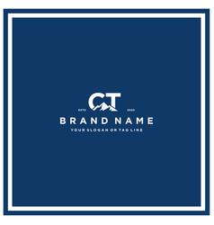 Letter ct mountain logo design vector