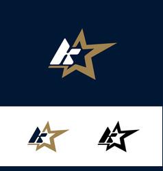 letter k logo template with star design element vector image
