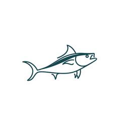 line art tuna logo design vector image