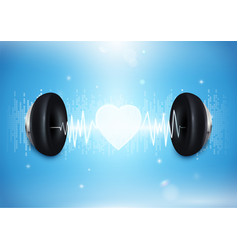 Love music concept headphones with sound wave vector